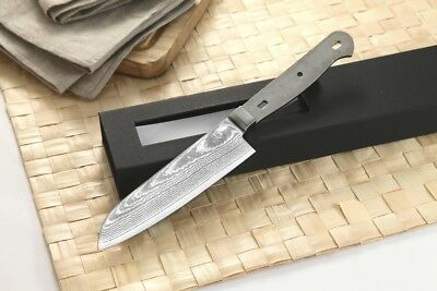 Japanese Damascus Santoku Knife Woodworker kit Blank VG-10 Steel 67 Layers 5 in