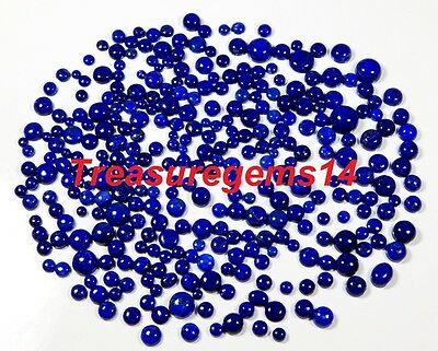 50 Ct Wholesale Lot 100% Natural Blue Lapis Calibrated Round Cabochon Gemstones