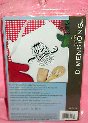 New Dimensions Mom's Kitchen Mom's Rules Apron Stamped for Embroidery