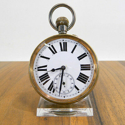 Goliath Lepine Taschenuhr Werk Hinter Glas Argentan Swiss Made Xl Pocket Watch