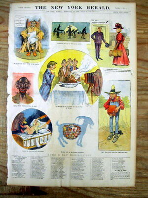 1896 NY City newspaper COLOR magazine poster Very Early uses for X-RAY INVENTION