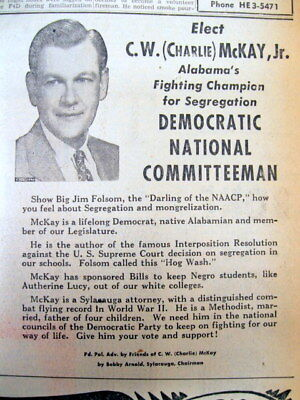 1956 Mobile ALABAMA newspaper w Lg political ad in SUPPORT of RACIAL SEGREGATION