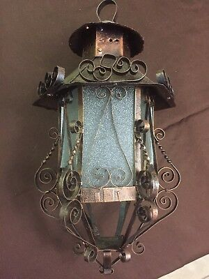 Antique Spanish/French wrought iron lantern from the 1930`s-1940`s. I have 2