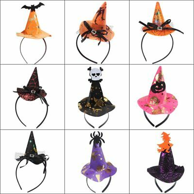 Hot Women Lady Pointy Witch Hat Hairband Headband Halloween Fancy Dress