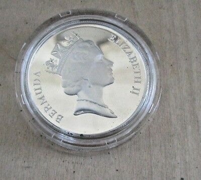 1986 Bermuda Sterling Silver Proof One Dollar Sea  Turtle Coin Elizabeth II