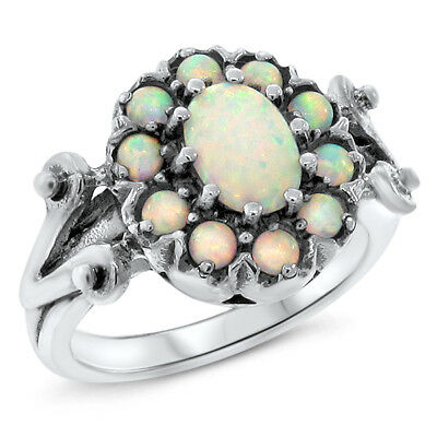 Victorian Classic White Lab Opal .925 Sterling Silver Ring Size 9.75,       #464