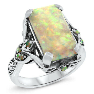 WHITE LAB OPAL ANTIQUE VICTORIAN DESIGN .925 STERLING SILVER RING SIZE 5 #464