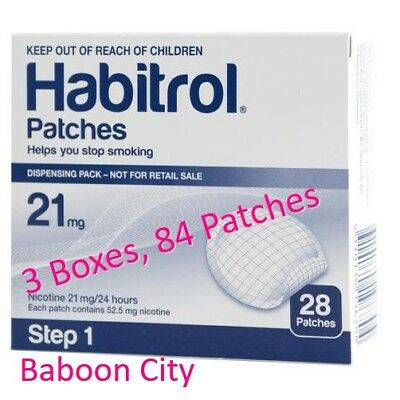 Step 1 Habitrol 21mg Nicotine Patches Stop Smoking (3 Large Boxes, 84 pcs) FRESH