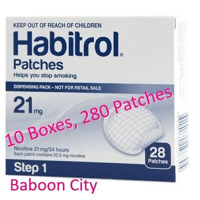 Step 1 Habitrol 21mg Nicotine Patches (10 Large Boxes, 280 Count) FRESH