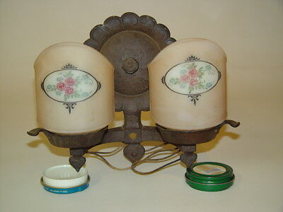 Antique Cast Iron 2 Bulb Wall Light Sconce Glass Shades 1920s