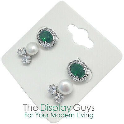 "100pc 2x2"" Inch White Paper Earrings Display Hanging Cards for Accessory Jewelry"