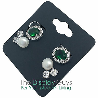 "100pc 2x2"" Inch Black Paper Earrings Display Hanging Cards for Accessory Jewelry"
