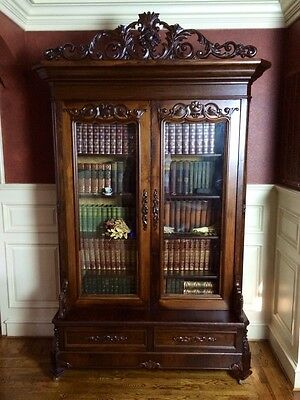 Monumental Rosewood Rococo Victorian Carved Bookcase JW Meeks NY