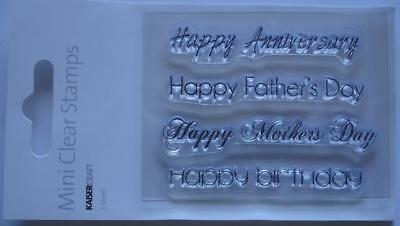 ~ OCCASIONS ~ Father & Mothers Day Birthday Mini Clear STAMP Scrapbook Stamping