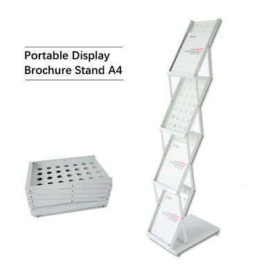 NEW Premium Portable A4 Brochure Holder Literature Display Stand Catalogue White