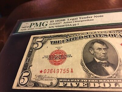 $5 1928B Star Legal Tender Note PMG 25