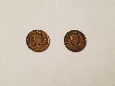 1972 and 1979 Philippines 5 Sentimos Coins