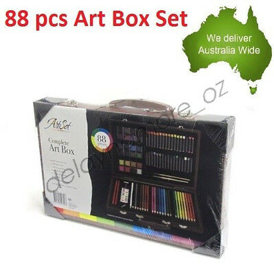 88 Pcs Art Box Paint Drawing Wooden Kit Watercolour Oil Pastels Sketch Pencil