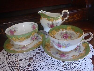 VTG Style New Paragon Pompadour Double Warrant Two Queens Cup & Saucer 5 Set