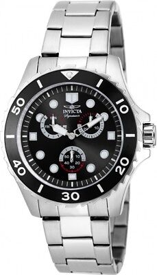 Men's Invicta 7024 Signature Black Dial Stainless Steel Watch