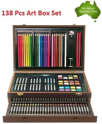 138 Pcs Art Box Paint Drawing Wooden Kit Water colour Oil Pastels Sketch Pencil