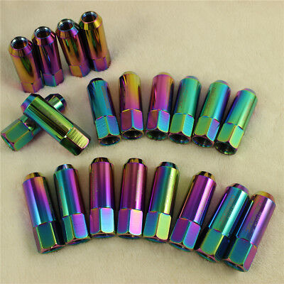 Neo Chrome M12X1.5 20PCS 60MM JDMSPEED Extended Aluminum Tuner Racing Lug Nuts