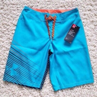 NWT $ 39.99 Under Armour Sz 25 (10) Boys' Heatgear Surf Board shorts Blue