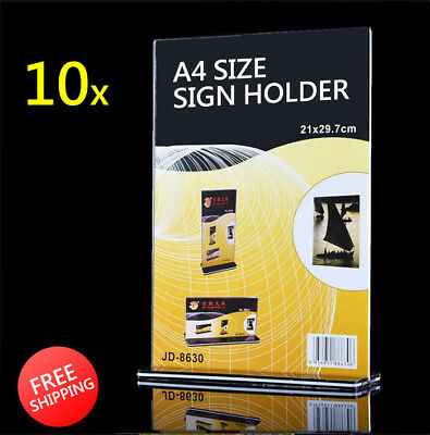 LOT10x A4 Size Sign Holder Acrylic Retail Display Stands Menu Restaurant Display