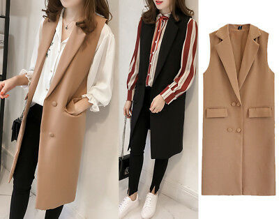 Women Casual Sleeveless Long Duster Coat Jacket Cardigan Suit Vest Waistcoat New
