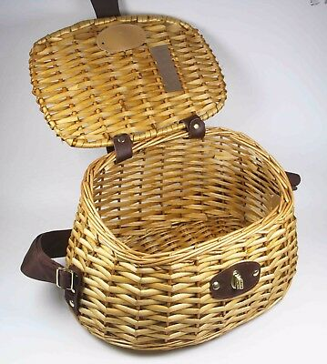 Wicker Fishing Creel Basket with Strap Removable Lid 30cm *18cm