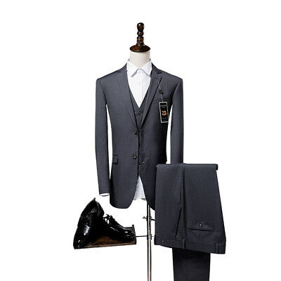 Grey Slim Fit Men Suits Wedding Groomsmen Tuxedo Work Dinner Party Prom Man Suit