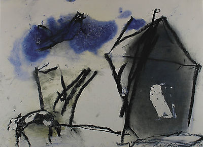 Emil SCHUMACHER 1912 - 1999 - Abstract Composition in black blue