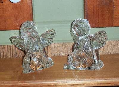 VINTAGE CRYSTAL GLASS CHERUB ANGEL CANDLE HOLDERS  - SET of 2 - GREAT CONDITION