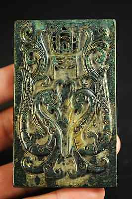 Delicate Chinese old green jade hand-carved phoenixes lucky pendant A12