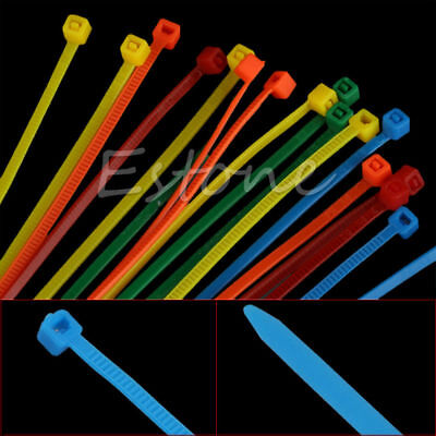 100Pcs Nylon Plastic Ties Zip Trim Wrap Cable Loop Wire Self-Locking Colors