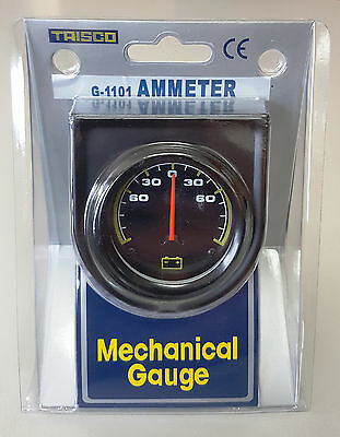 "2"" 50mm Car Amp Meter 60-0-60 Amp Mechanical Ammeter Gauge 250 Wide Sweep Scale"
