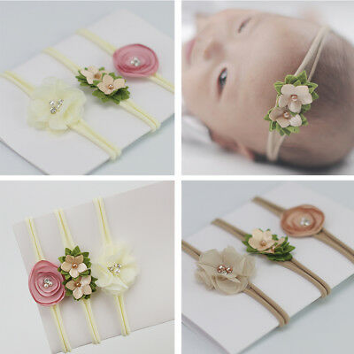 Baby Newborn Toddler Girl Nylon Hairband Flower Headband Hair 3Pcs/Set Accessory