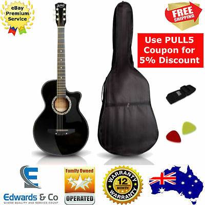 "38"" Wooden Acoustic Guitar Black Student Maple Wood Fingerboard 3/4 Beginner"