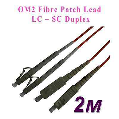 2M LC - SC FIBRE OPTIC CABLE 50/125 Duplex Multimode OM2 Patch Lead New