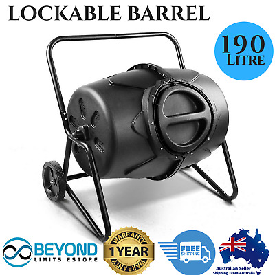 Mobile Compost Garden Soil Tumbler Composter Bin Lockable Barrel with lid 190L