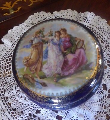 Vintage Dresden Kaufmann Fine China Cobalt Gold Gilt Vanity Powder Trinket Box