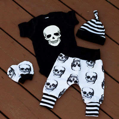US 4PCS Infant Baby Boy Girl Skull Clothes Romper +Long Pants Hat Outfits Set