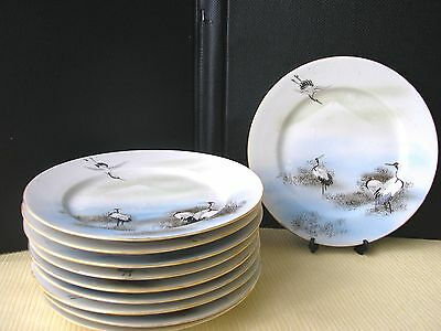 Lot de 10 assiettes à dessert Porcelaine du Japon Décor de grues et Mont Futji