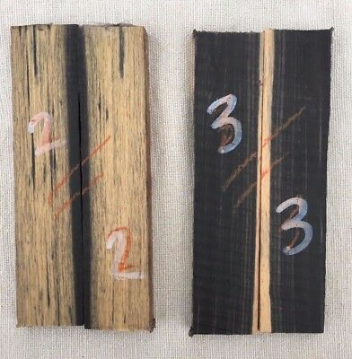 Black and white ebony bookmatched small knife scale / razor scale / inlay sets