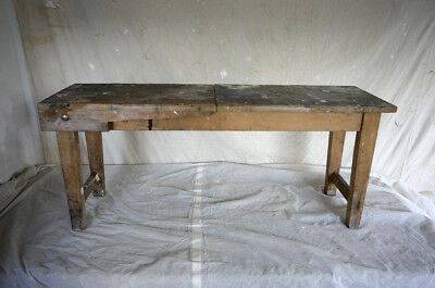 Vintage artists bench - shabby retro industrial bench - display shelf