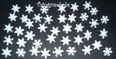 40 Mini Itty Bitty Snowflakes Novelty Craft Buttons - Christmas
