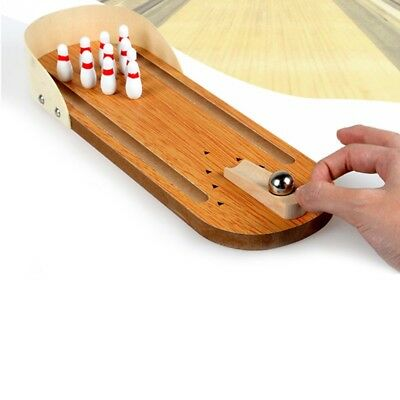 Mini Desktop Bowling Game Set Wooden Kid Children Ball Board Game Toy Gift