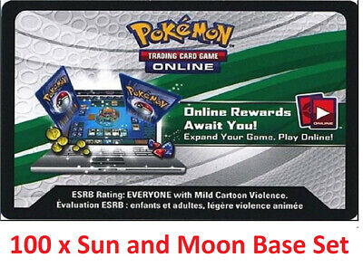 100 x Pokemon Sun and Moon Base Set Code TCGO Cards TCG Codes SENT IN 12 HOURS