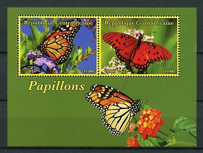 Central African Republic 2017 CTO Butterflies 2v M/S I Monarch Butterfly Stamps