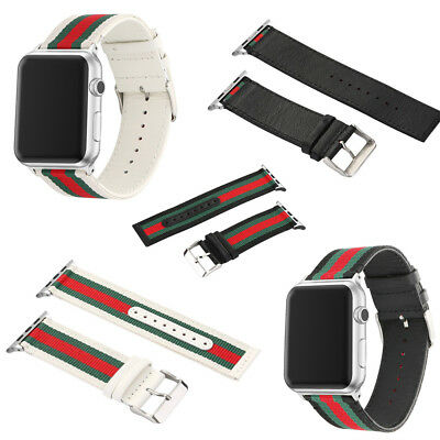 Woven Canvas Casual Sports Watch Band Strap Belt Leather For iPhone  Watch